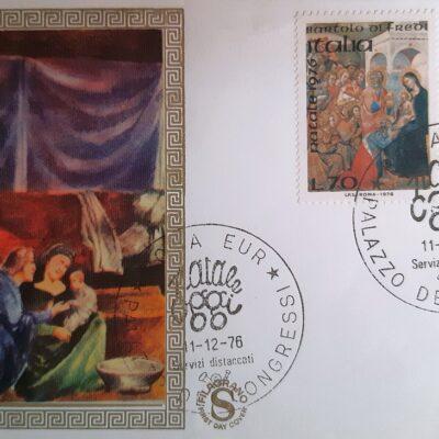D02 - Natale 1996, Cartolina con francobolli, a sinistra Bartolo di Fredi, a destra Taddeo Gaddi