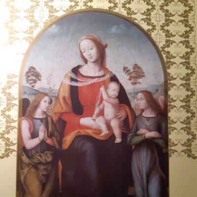 D08 - Natale 2008, foglio, Madonna col Bambino in trono fra due Angeli, Lorenzo di Credi, Brescia