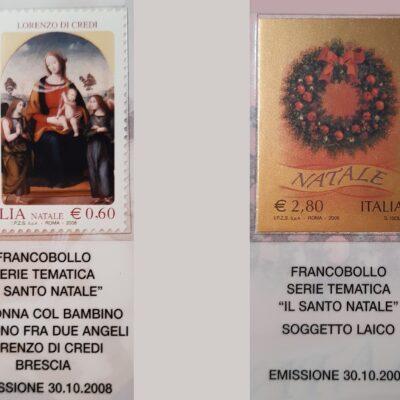 D09 - Natale 2008, Francobolli, a sinistra Riproduzione del dipinto, a destra Soggetto laico
