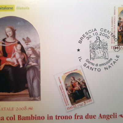 D10 - Natale 2008, cartolina, Madonna col Bambino in trono fra due Angeli, Lorenzo di Credi, Brescia