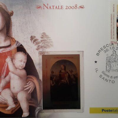 D11 - Natale 2008, cartolina, Madonna col Bambino in trono fra due Angeli, Lorenzo di Credi, Brescia