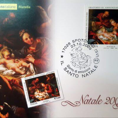 D13 - Natale 2009, Cartolina con francobollo, Adorazione dei pastori, Domenico Piola