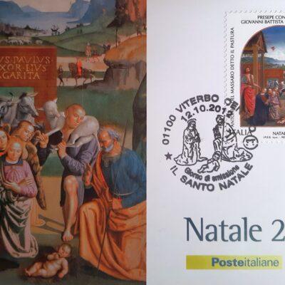 D15 - Natale 2012, Cartolina con francobollo, Presepe con i Santi, Antonio del Massaro