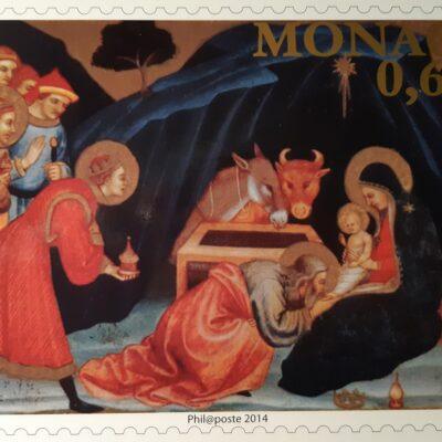D17 - Natale 2014, Cartolina, adorazione dei Magi, Principato di Monaco