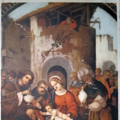 Natale 1963, Cartolina, Maria presenta il bambino ai Magi