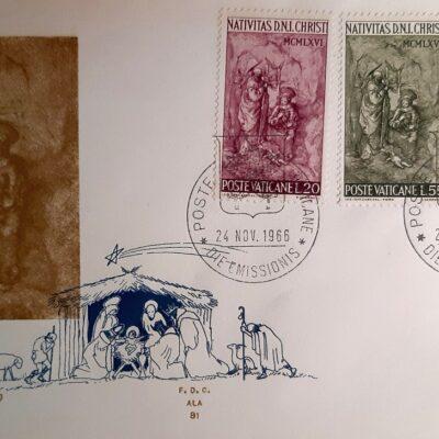 Natale 1966, Cartolina con francobolli, Città del Vaticano
