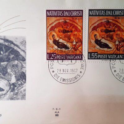 Natale 1967, Cartolina con francobolli, Città del Vaticano