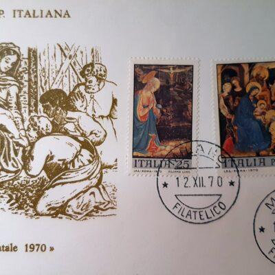 Natale 1970, Cartolina con francobolli, a sinistra Filippo Lippi, a destra Gentile da Fabriano