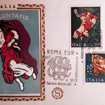 Natale 1972, Cartolina con francobolli