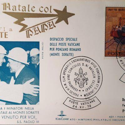 Natale 1972, Dispaccio speciale con francobollo, Città del Vaticano