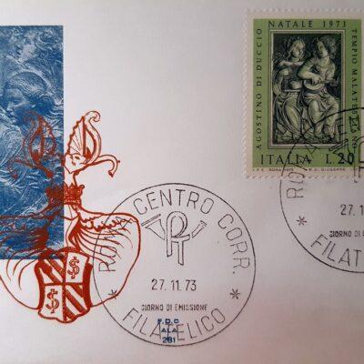 Natale 1973, Cartolina con francobolli, Agostino di Duccio