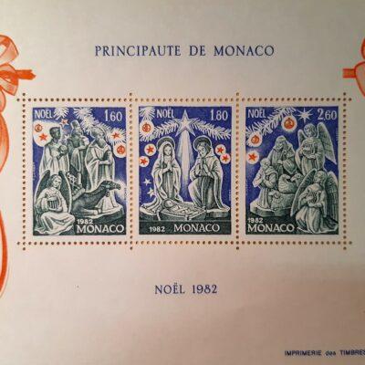 Natale 1982, Cartolina con emissione, Principato di Monaco