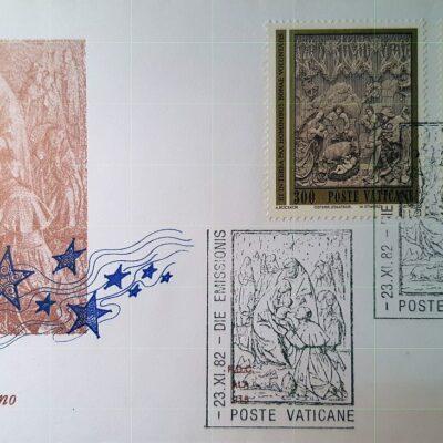 Natale 1982, Cartolina con francobolli, Città del Vaticano