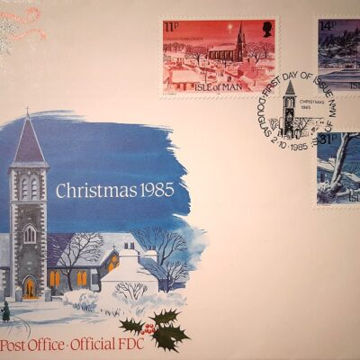 Natale 1985, Cartolina con francobolli, Isola di Man.